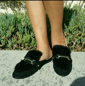 Shoes - Furry Top Flats Loafer Mules